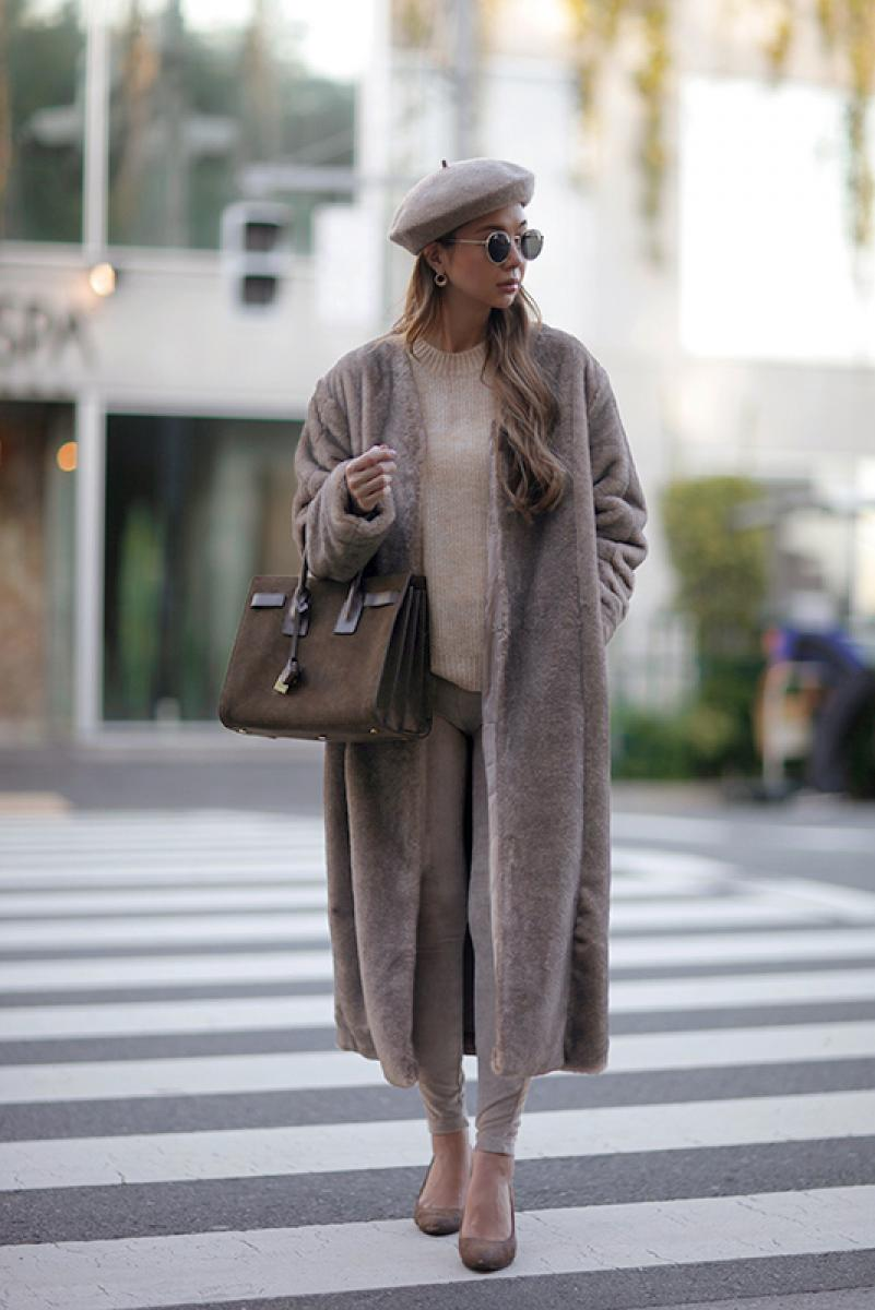 Long Switching Fur Coat