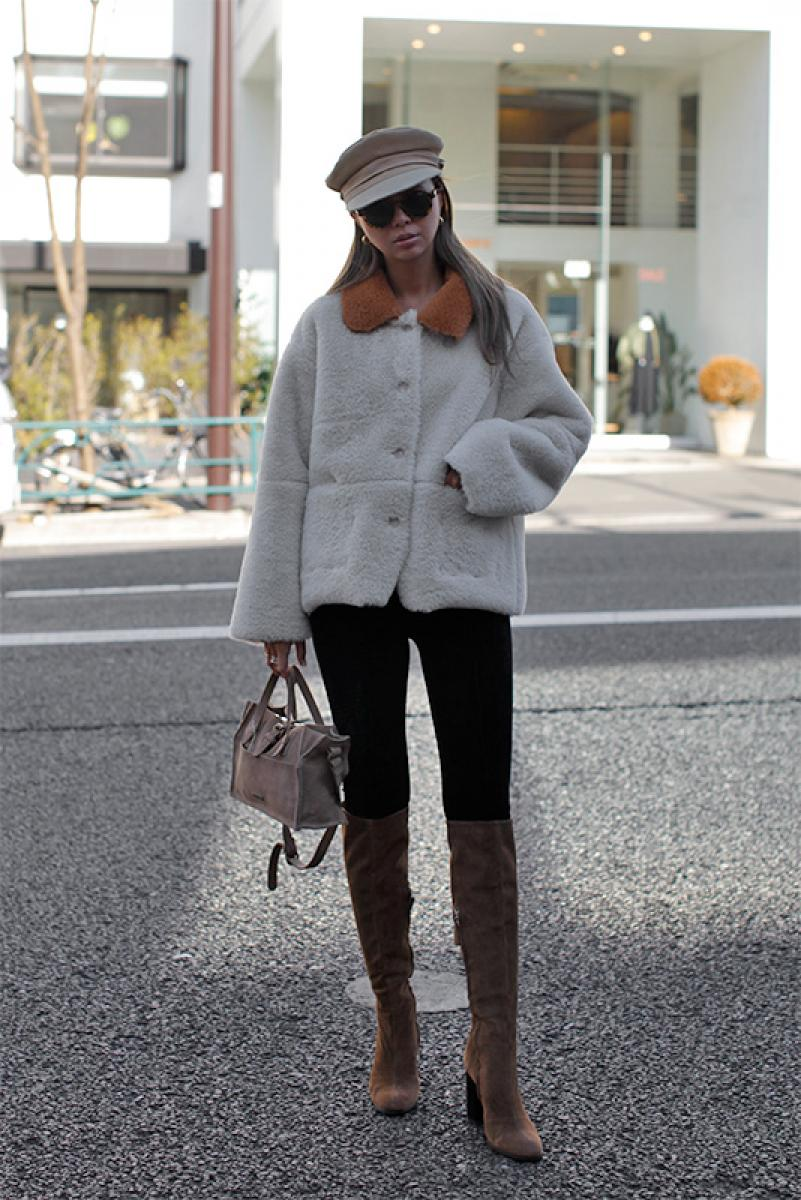 By-color Mouton Fur Jacket
