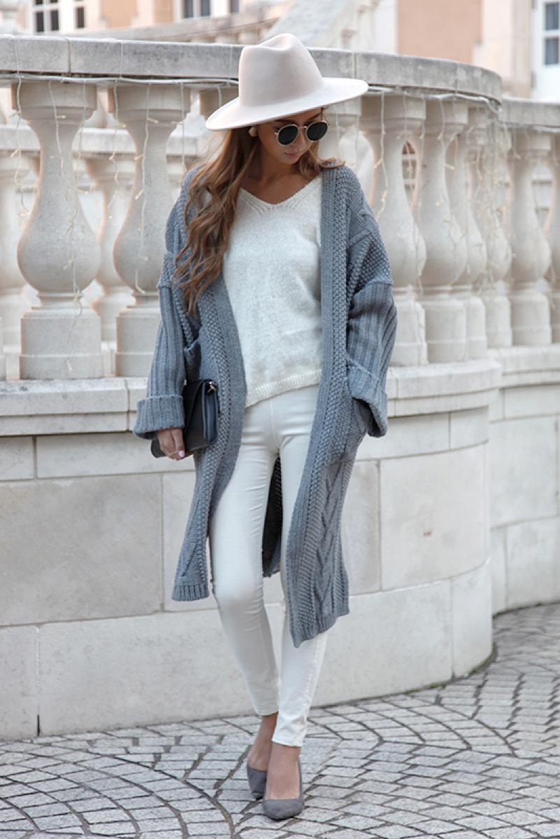 Cable Slit Long Cardigan