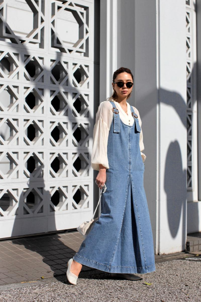 Denim Long Jumper Skirt