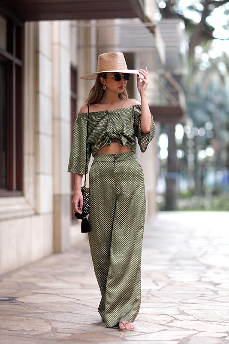 Dot Satin Wide Pants