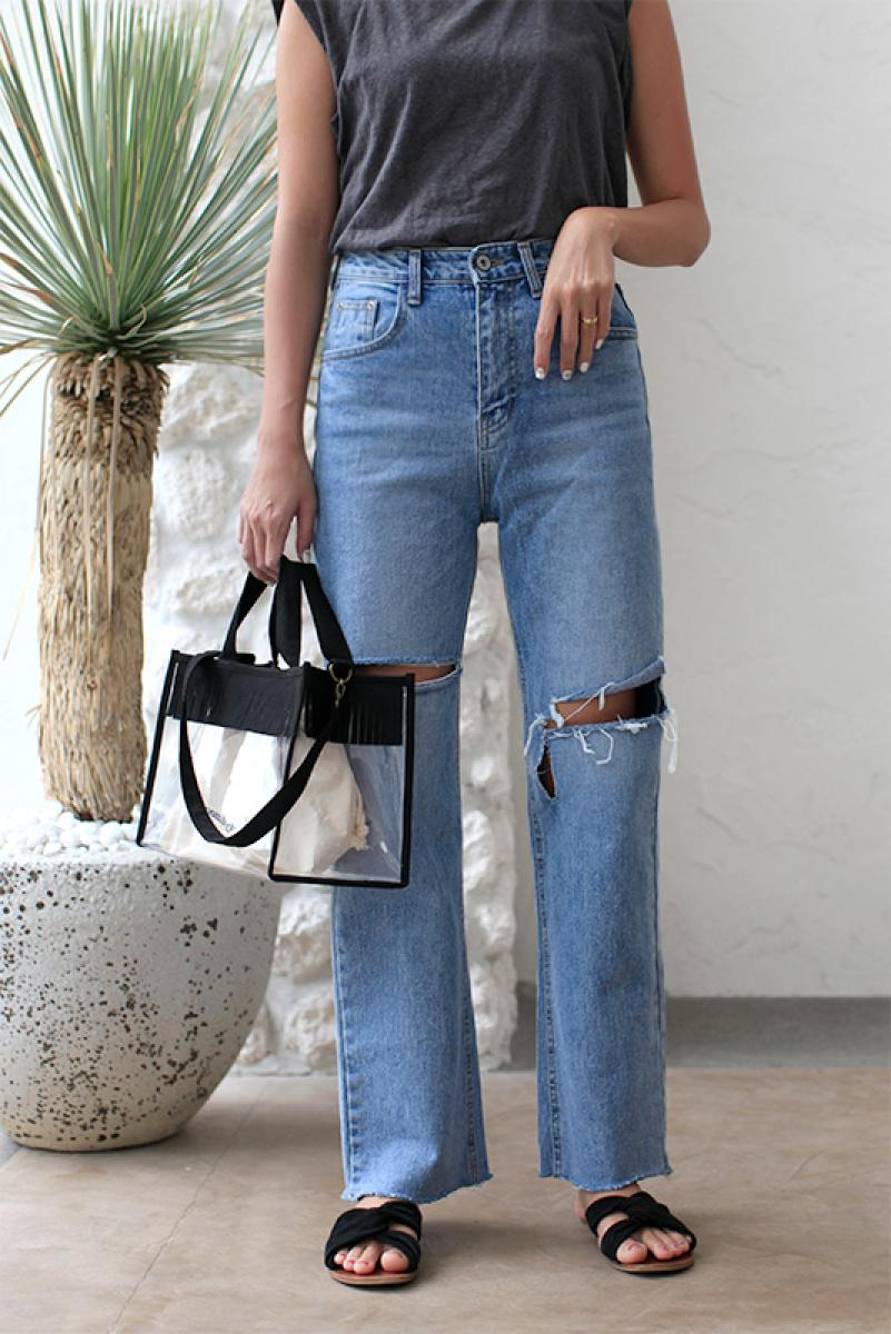 Damage Straight Denim Pants