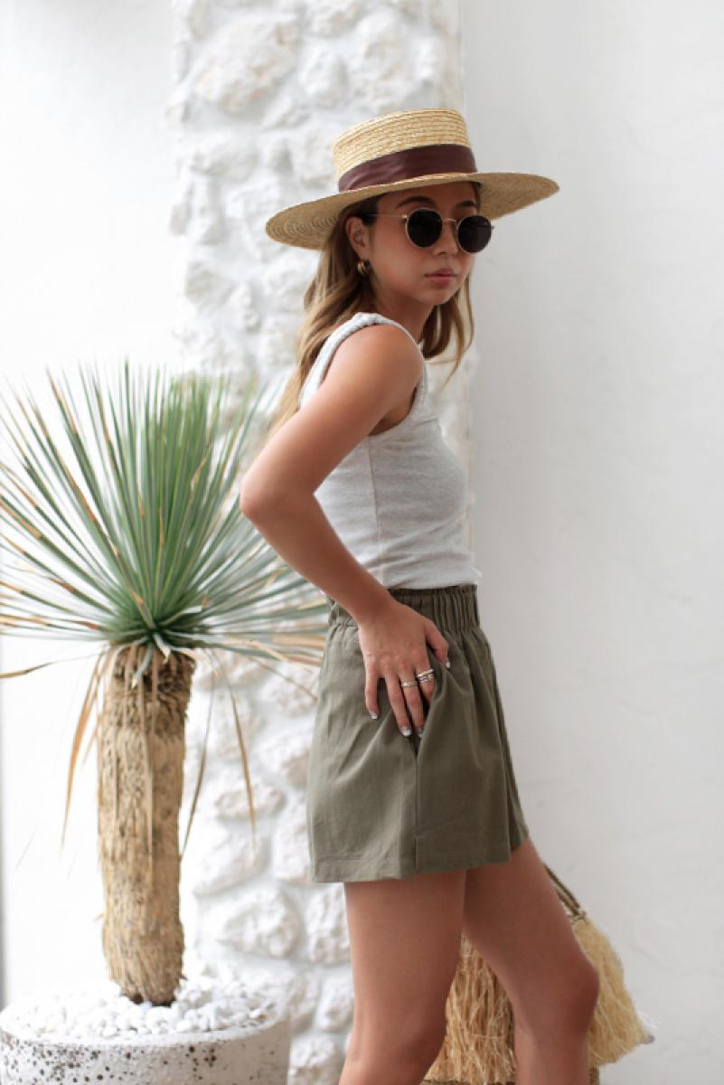 Waste Gather Linen Short Pants