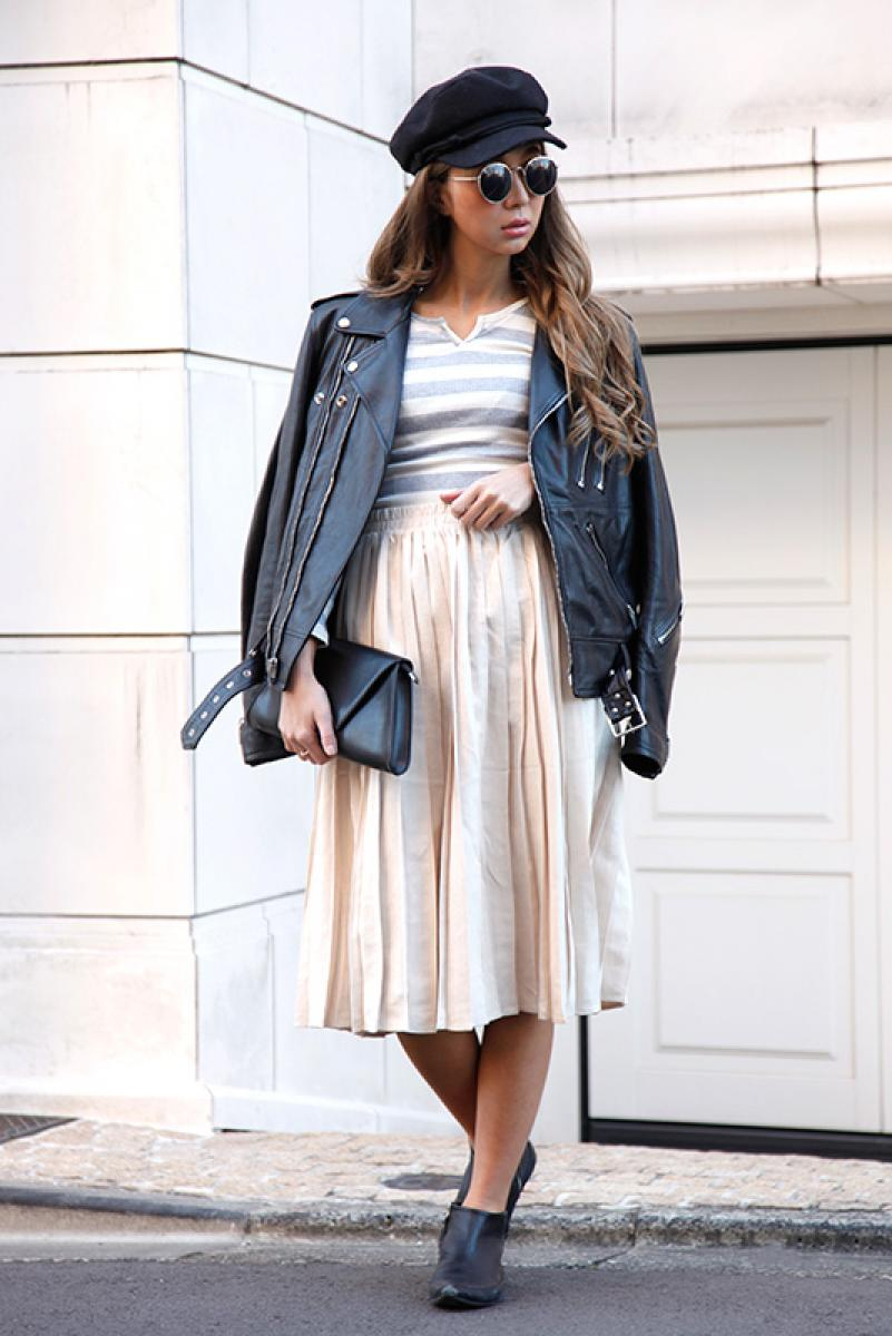 Pleats Suede Midi Skirt