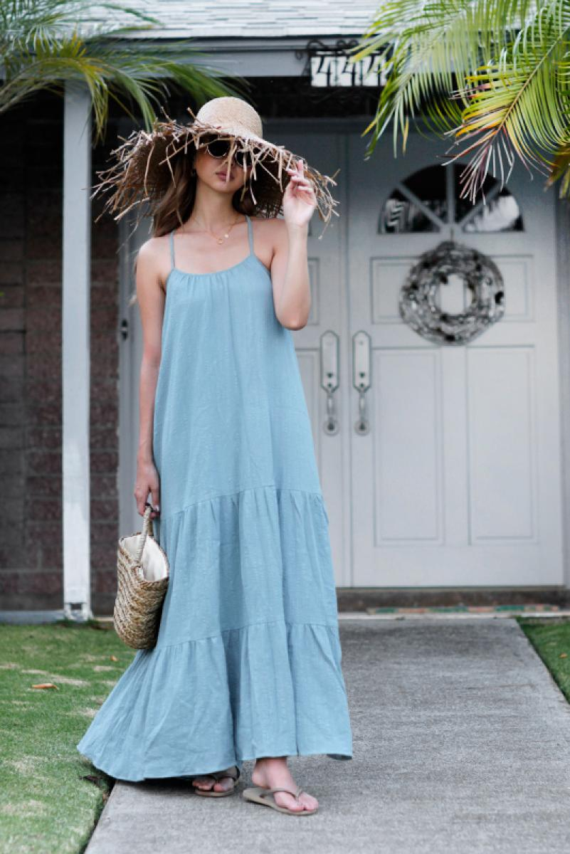 Back Design Cotton Flare Maxi One-piece