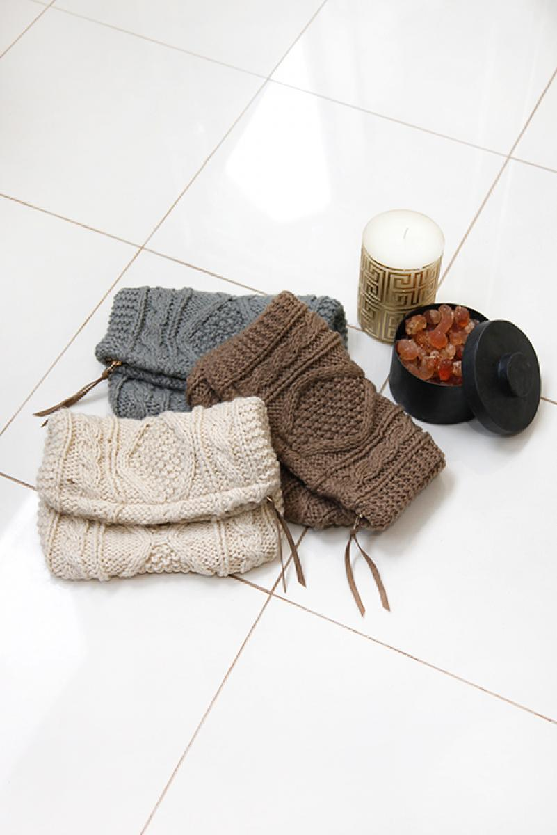 Cable Knitting Clutch