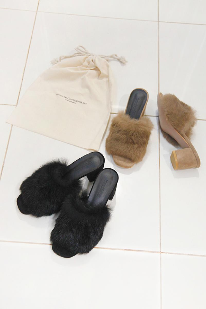 Rabbit Fur Heel Sandal