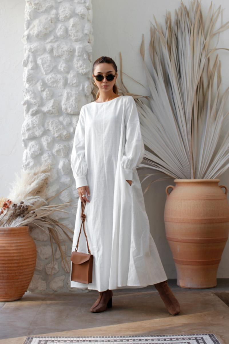 Cotton Long Sleeve Maxi One-piece