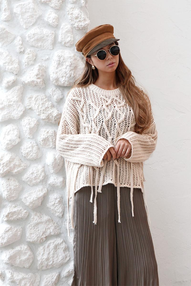 Cable Fringe Loose Knit