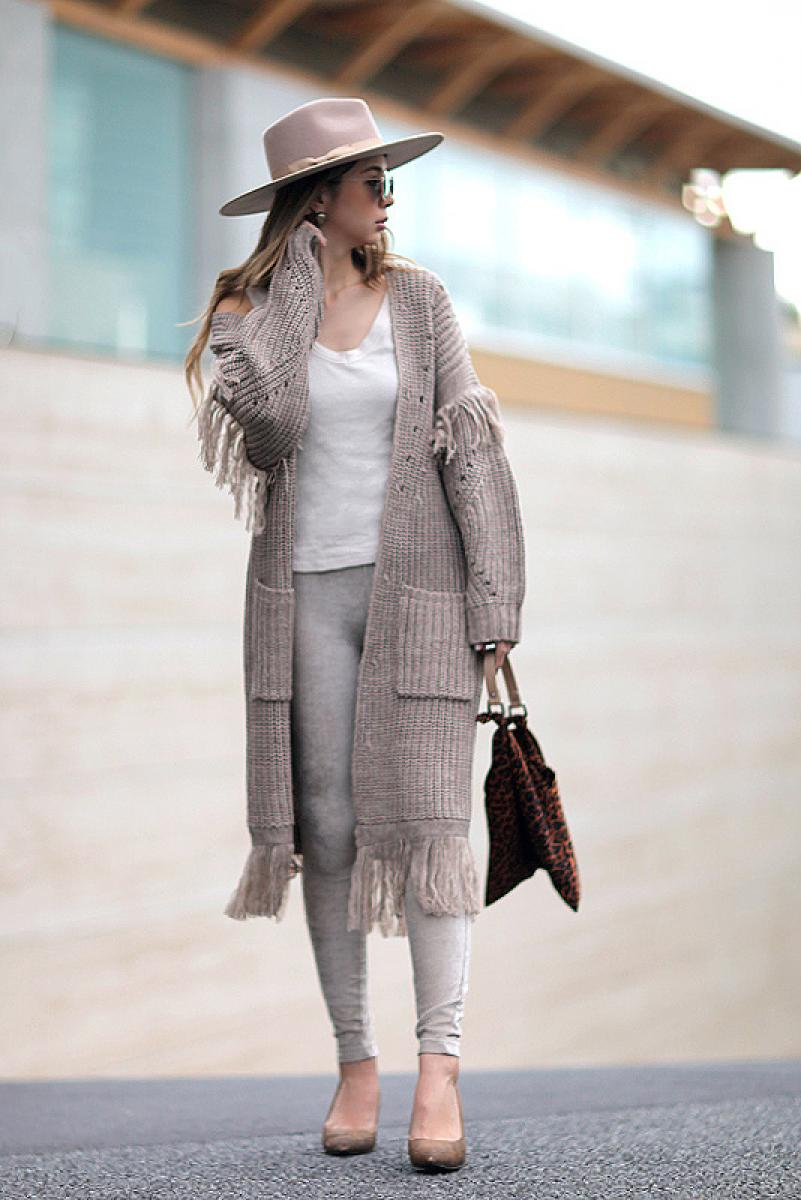 Fringe Volume Knit Cardigan
