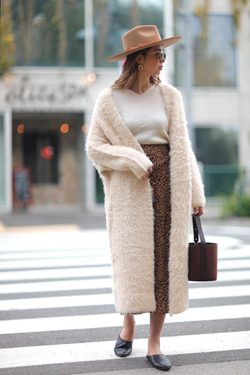 Feather Yarn 2way Knit Coat