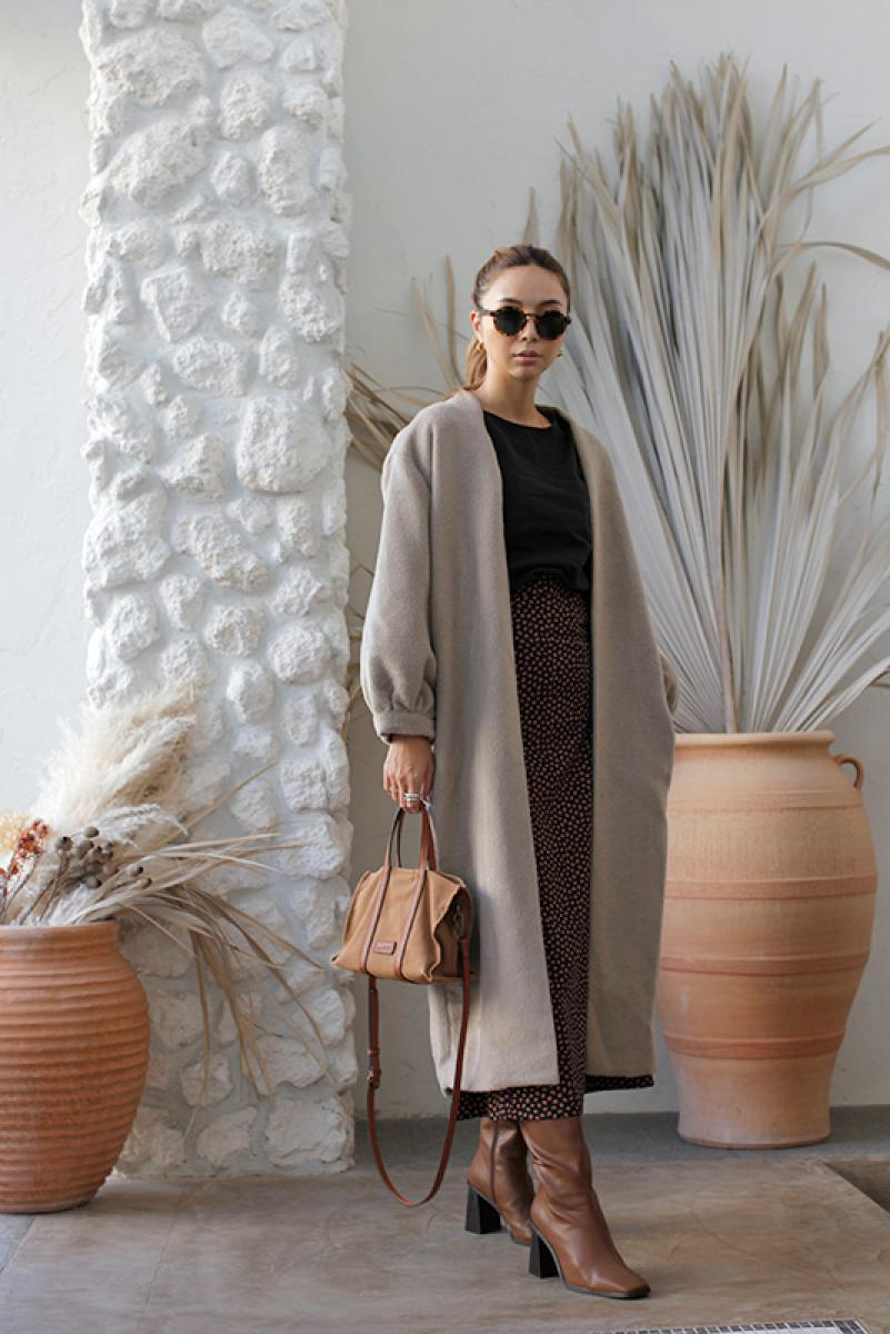 Wool Shaggy Long Gown Coat