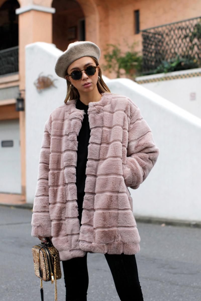 Switching Midi Fur Coat