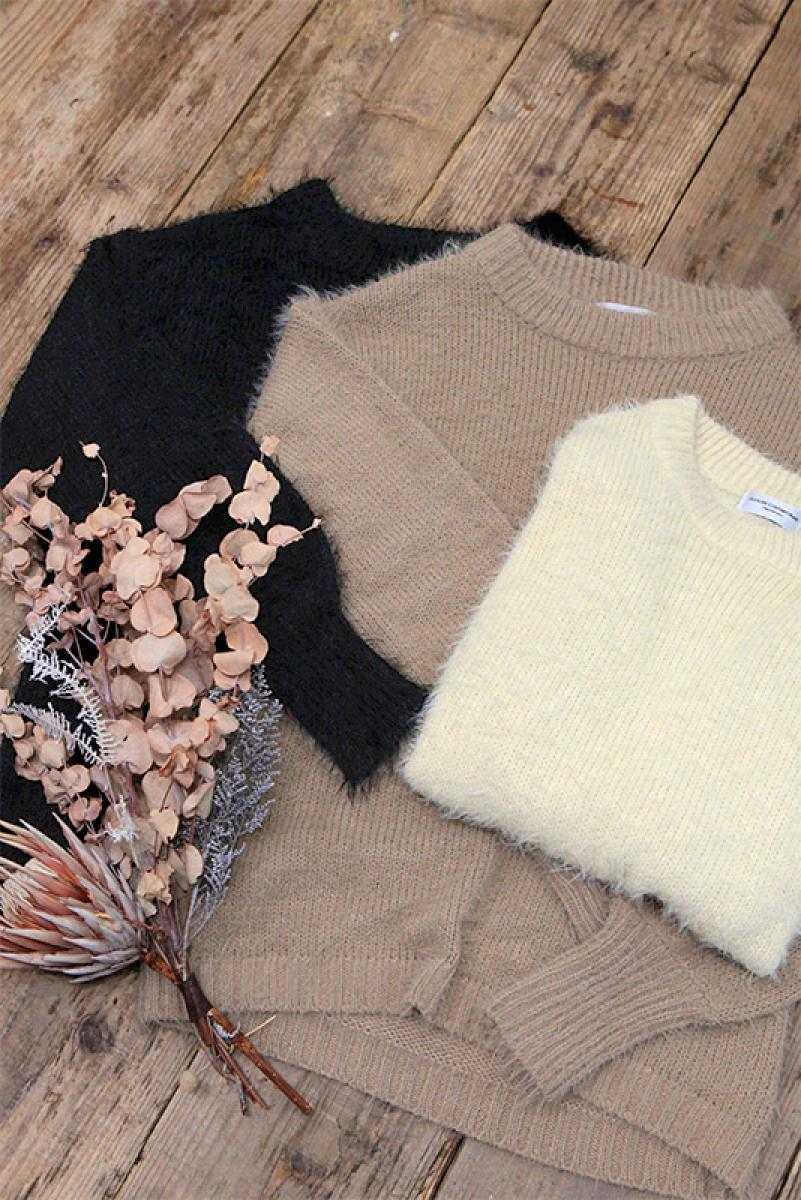 Feather Yarn Midi Knit Tops