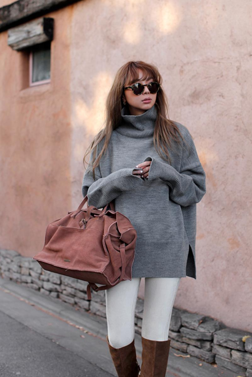 Loose Turtle Knit Tops