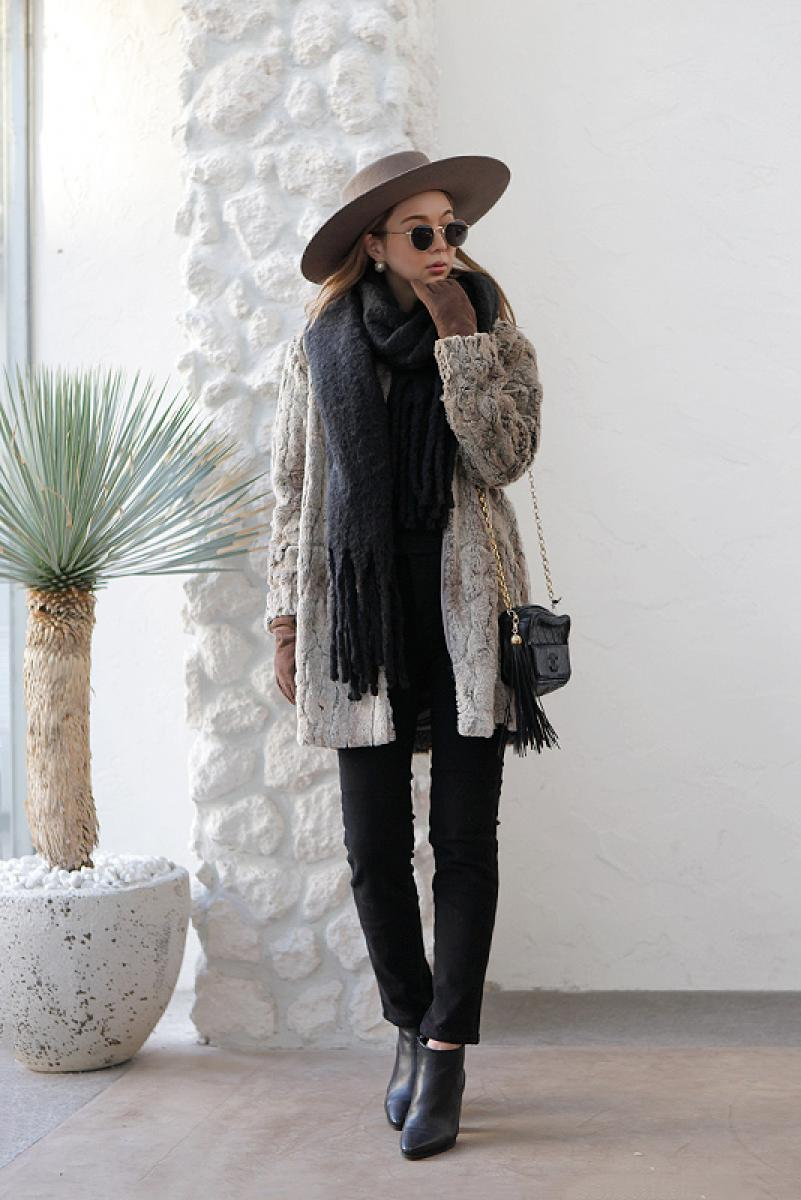 Mix Color Midi Fur Coat