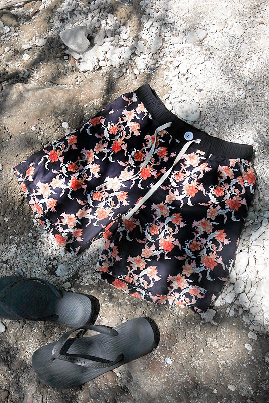 Choral Flower Surf Shorts