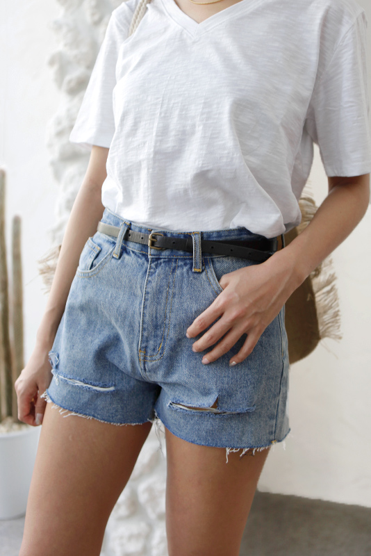 Damage Wash Denim Short Pants