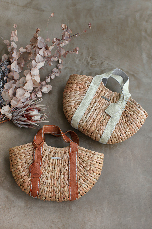 Handle Leather Round Basket Bag