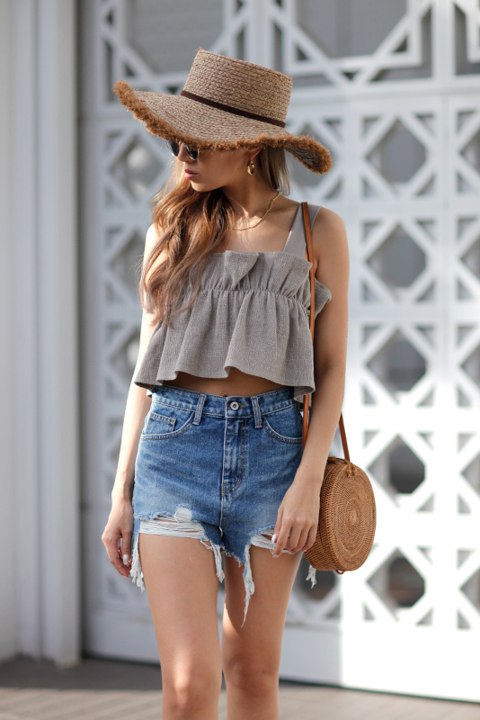 Gather Frill Bustier Top