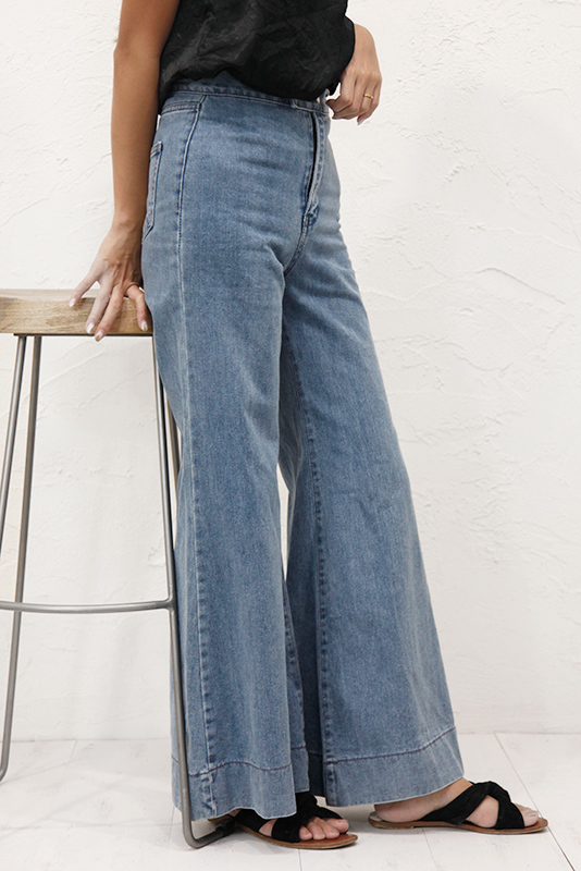 Hem Over Denim Wide Bottom