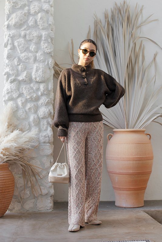 Cable Design Mix Knit Pants